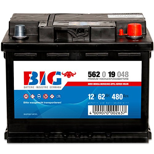 Preisvergleich Produktbild Autobatterie 12V 62Ah BIG Starterbatterie statt 45Ah 55Ah 60Ah 65Ah 66Ah 70Ah