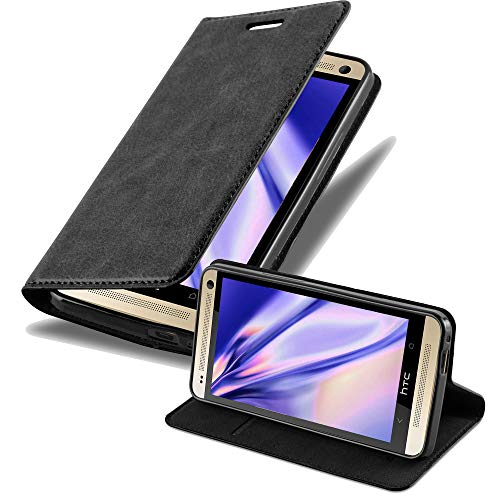 Cadorabo Hülle für HTC One M7 in Nacht SCHWARZ - Handyhülle mit Magnetverschluss, Standfunktion & Kartenfach - Hülle Cover Schutzhülle Etui Tasche Book Klapp Style