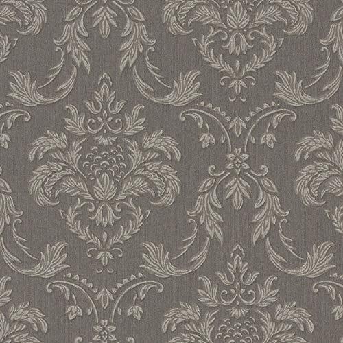 Casa Padrino Barock Textiltapete Grau/Silber/Braun 10,05 x 0,53 m - Wohnzimmer Tapete im Barockstil - Hochwertige Qualität