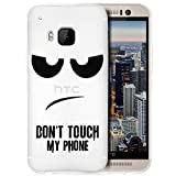 Saxonia Schutzhülle + Panzerfolie HTC One M9 Hülle Ultra Slim Silikon Case Cover mit Design/Motiv Dont Touch My Phone Transparent (Klar)