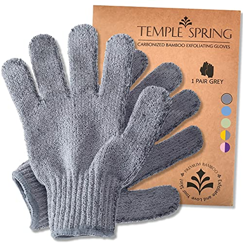 Temple Spring Bamboo Exfoliating Wash Gloves, Eco Exfoliator Mitt, Natural Bath/Shower Scrub, Body Exfoliation Hand Mitten, Beauty Scrubs/Loofah, Ingrown Hair/Dead Skin Remover (Grey)