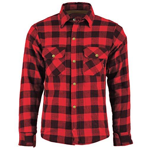 BULLDT Herren Motorradhemd Holzfäller-Look Hemd Biker Hemd, 60/4XL, Rot