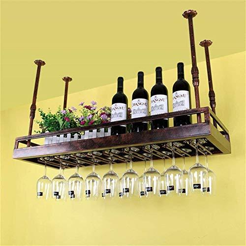 Botellero rústico apilable, Vino Bastidores de techo montado en la pared que cuelga titular de la botella de vino del hierro del metal del vidrio de vino del estante for copas cáliz Bastidores decorac