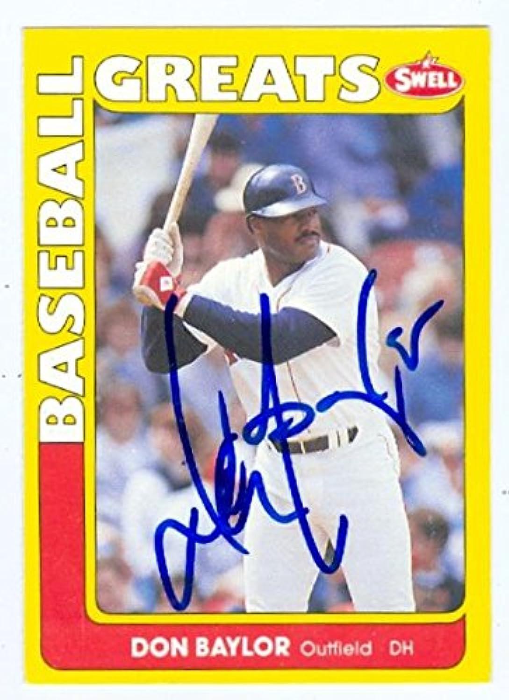 Don Baylor Autographed Baseball Card (Boston Red Sox) 1990 Swell Baseball Greats  6  Autographed Baseball Cards