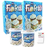 Confetti Cake Mix and Frosting 4 Pack | Pillsbury Funfetti Cake Mix 15.25 oz 2 pk | Vanilla Funfetti...