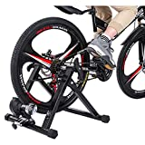 Bike Resistance Trainer, Bicycle Stationary Foldable Magnetic Stand for Indoor Exercise, with Front Wheel Stand Pad Compatible for 24-29' Wheel Size, for Road & Mountain Bikes