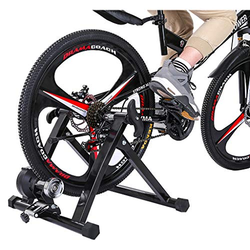 Sanycool Foldable Bike Trainer Stand Stationary Bike Stand For Indoor Riding Black Magnetic Bicycle Stationary Stand For Indoor Exercise Maximum Weight Loads to 330 lbs,Wheel Diameters 24inch-29inch