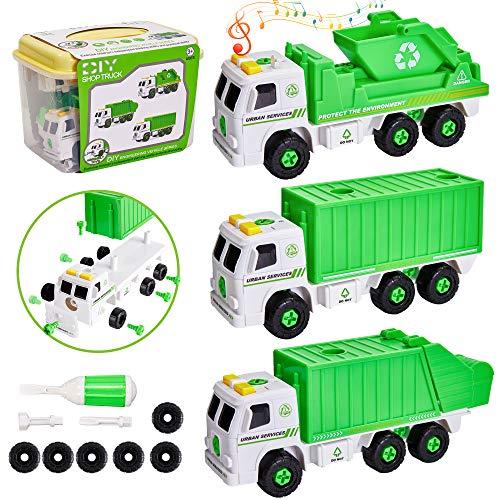 HERSITY 3 Stück Müllauto Montage LKW Spielzeug Auto mit Schraubendreher und Sound Müllwagen Kinderspielzeug Geschenk 3 Jahre Junge Kinder