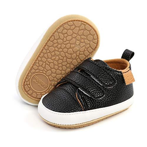 Mocassini - Scarpe da bambino, in pelle PU, stile casual, antiscivolo, suola morbida Nero Size: 12-18 meses Ancho