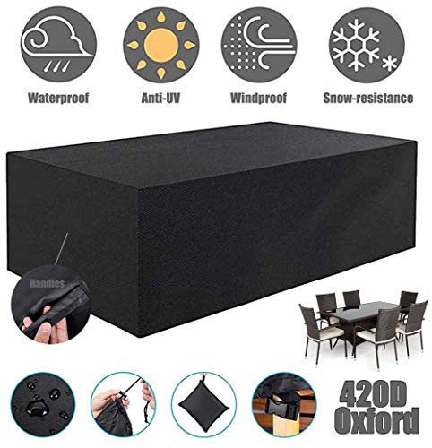 ZHAONI Patio Furniture Covers Waterproof, Outdoor Patio Rectangular Table Cover for Sofa Dining Table With, Heavy Duty 420D Oxford And Windproof Snow Dust, Black,250x250x90cm/8x8x3ft