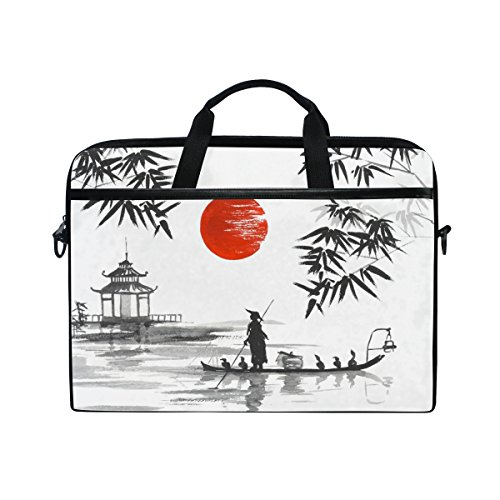 jstel Japanische Malerei Mann mit Boot Laptop Schulter Messenger Tasche Fall Sleeve für 35,6cm zu 39,6cm mit verstellbarer Notebook Schultergurt