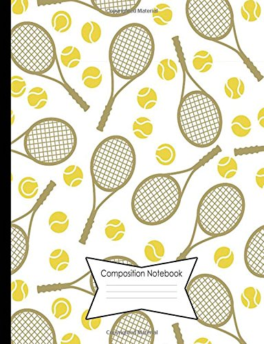 Composition Notebook Dot Grid Graph (.2' apart) 140 Page Book (7.44 x 9.69'): Yellow Tennis Racquets Cover Design