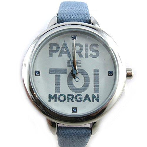 Morgan [N2371] - Orologio da polso 'french touch' 'Morgan' blu argentato (parigi voi).