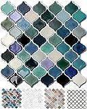 STICKGOO 10-Sheet Teal Arabesque Tile Peel and Stick...