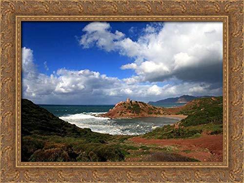 Saiu, Giovanni 40x28 Gold Ornate Framed Canvas Art Print Titled: Alghero-porticciolo-sea-Italy-Sardinia