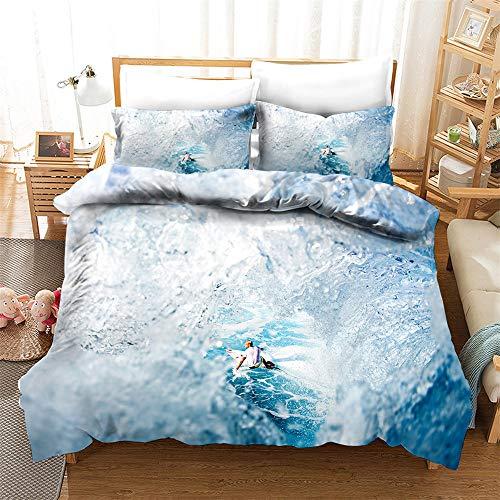 AZJMPKS Juego de ropa de cama con temática océano, estilo deportivo 3D, surf, tabla de surf, aventura, funda nórdica azul crema y blanco, jóvenes y niñas (A2, 135 x 200 cm + 75 x 50 cm x 1)