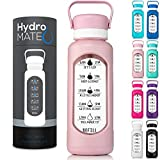 HydroMATE 32 oz Glass Water Bottle with Time Marker in Plastic Sleeve Motivational Quotes and Times to Drink Track Daily Intake for Gym Fitness Sports Hydro MATE Leak Proof Reusable BPA Free 1 Liter