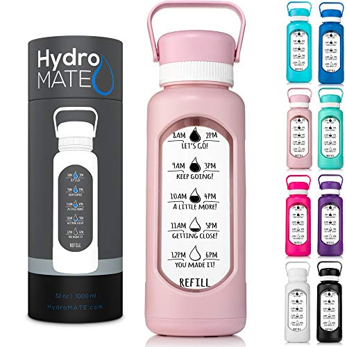 HydroMATE 32 oz Glass Water Bottle with Time Markers to Track Water Intake with Hard PlasticCover and Motivational Times to Drink Water Reminders Hydro MATE 32 oz