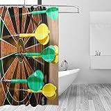 MONTOJ, grün-gelbe Dartscheibe Home Decor Duschvorhang, Badevorhang, Stoff Badezimmer-Dekorationsset mit Haken, 177,8 cm, langlebig & superwasserdicht, 1 Paneel 183 x 183 cm