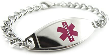 My Identity Doctor - Pre-Engraved & Customized Dementia Medical Bracelet, Wallet Card Incld, Purple