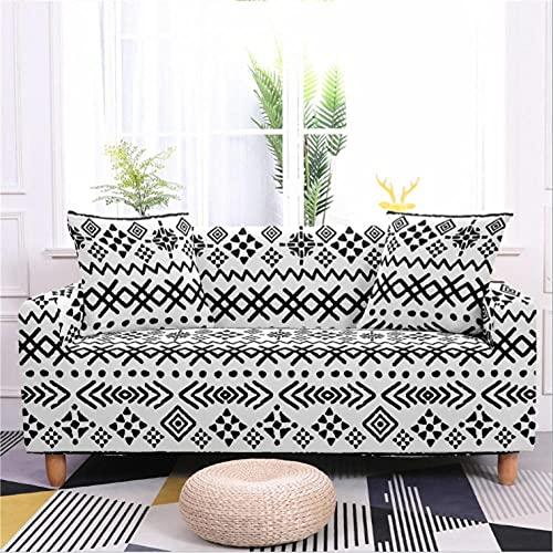 Patrón de Rayas Negras Funda de sofá de 1 Plazas Funda Elástica para Sofá Poliéster Suave Sofá Funda sofá Antideslizante Protector Cubierta de Muebles Elástica