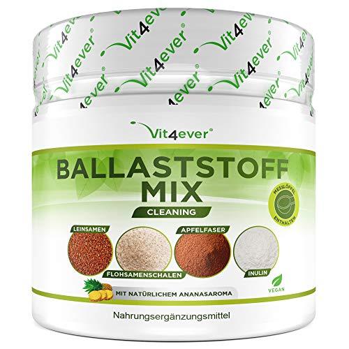 Kombination aus Ballastoffen - 400 g Pulver mit Flohsamenschalen, Inulin (Präbiotikum), Apfelfasern, Leinsamen - Ballaststoffreich - Vegan - Mit Natürlichem Ananas Aroma - Premium Qualität