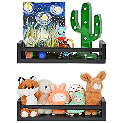 Nursery Room Floating Wall Shelves in Black – Set of 2 – Perfect Nursery Decor for Baby's Room! Office, Kitchen and Bathroom Too!