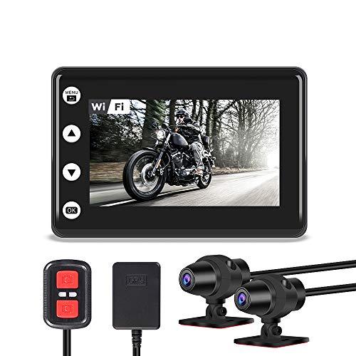 VSYSTO Motocicleta Dash CAM Cámara de la Motocicleta Lente Dual 1080P Cámara Delantera y Trasera Pantalla LCD de 3.0 \'\' 140 ° Gran Angular Cámara Deportiva a Prueba de Agua WiFi GPS
