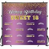 Sensfun Sweet 16 Backdrop Girls 16th Birthday Photography Background 6x6ft Vinyl Purple Gold Glitter Dots Sweet Sixteen Happy Birthday Party Banner Decoration Photobooth Backdrops