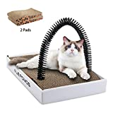 Cat Scratcher, Cardboard Cat Scratchers with Catnip and 2PCS Cat Scratching Board Corrugated Reversible Scratching Pad,Recycle Cardboard Box ,Cats Self Groomer Brush - Cat Gifts for Indoor Adult Cats