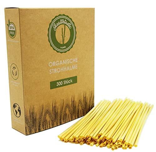 Healthtastic ® Compostabile cannucce monouso in paglia 300 Pz - Cannucce da bere ecologico organico al 100% biodegradabile