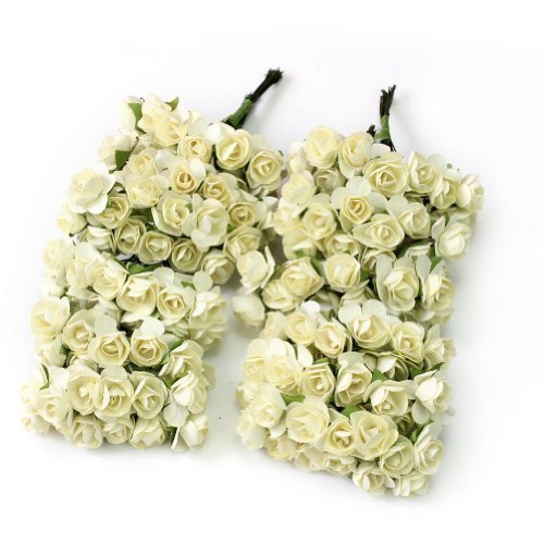 144 x Flor Rosas Artificiales de Papel Accesorio Decorativo para Tarjetas Boda