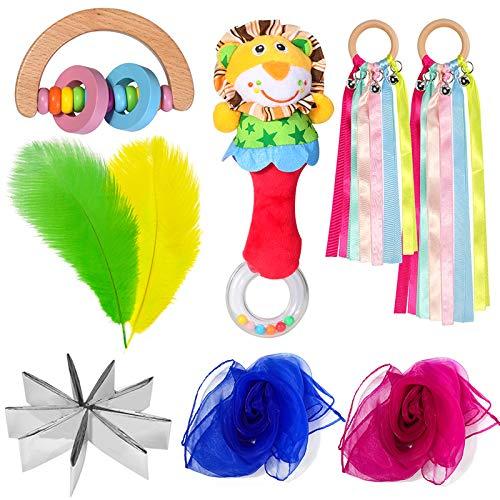 Sensorisches Spielzeug Baby, Sensorisches Spielzeug Kinder, Jongliertücher, Rettungsdecke, Holz Rassel, Straußenfedern, Löwe Rassel, Regenbogen Holzband Rassel Sensorisches Spielzeug Kauen