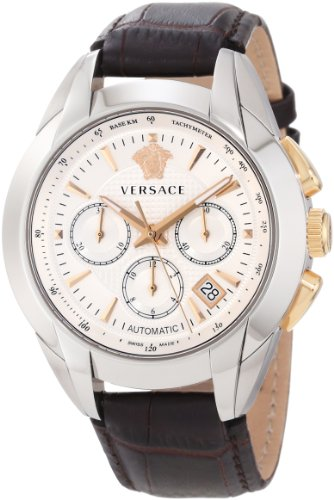 Versace Men's M9A99D002 S497 'Character' Stainless Steel, Rose Gold, and Leather Automatic Watch