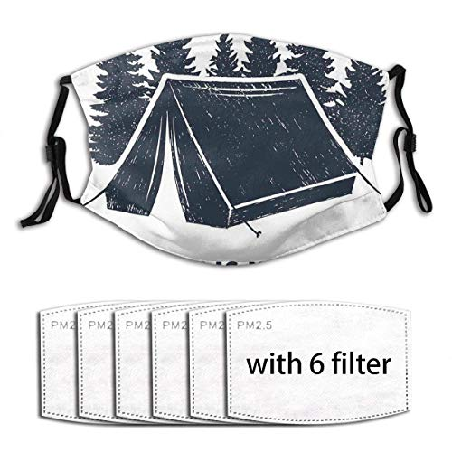 Face mask reusable Home is Where The Tent is Lettering with Pine Trees Camping Travel Theme Dust Washable Mouth Warm Windproof Cotton Face Made in USA