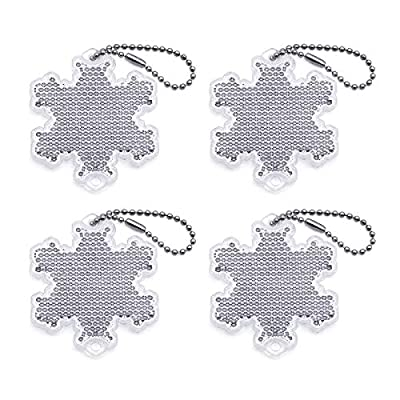 4Pcs Super Bright Safety Reflector - Snowflake Shapes - Stylish Reflective Gear for Jackets, Bags, Purses, Backpacks, Strollers and Wheelchairs?Christmas Halloween Party Hanging Decoration (Snowflake)