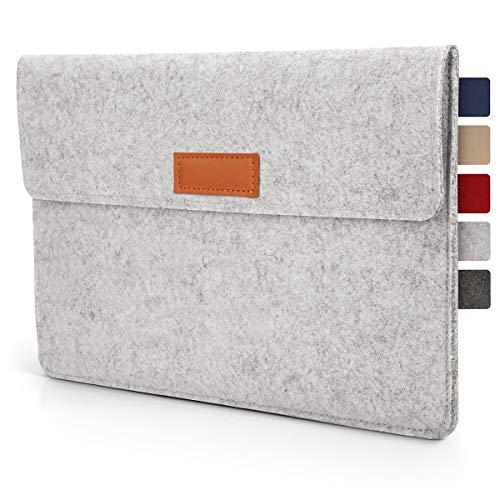 Tablet Tasche Hülle 10.1 - 11 Zoll aus Filz I für Geräte bis zu 28,5 x 19,5cm I Universal für iPad, Samsung, Huawei I iPad Sleeve und Tablet Schutzhülle, Hellgrau