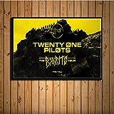 Fymm丶shop Twenty One Pilots Trench Coats and Chubasqueros Cubierta De Álbum De Música Cálida Cantante Star Art Painting Silk Canvas Wall Poster Home Decor40x50cm
