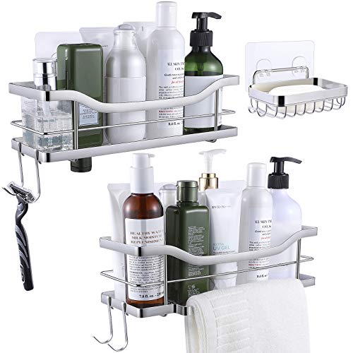 Homemaxs Shower Caddy 2021 Newest Shower Shelf and Soap Dish with Tower Hanger amp 4 Hooks 304 Stainless Steel Strong Adhesive Shower Organizer with Unique Invert Design for Bathroom Kitchen 3 Pack
