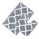 Pauwer Microfaser Soft Badteppich Set 2 teilig, Saugfähiges Badteppich rutschfeste Waschbare Badematten und WC Vorleger Badvorleger (Grau, 53 x 86 cm + 50 x 50 cm)