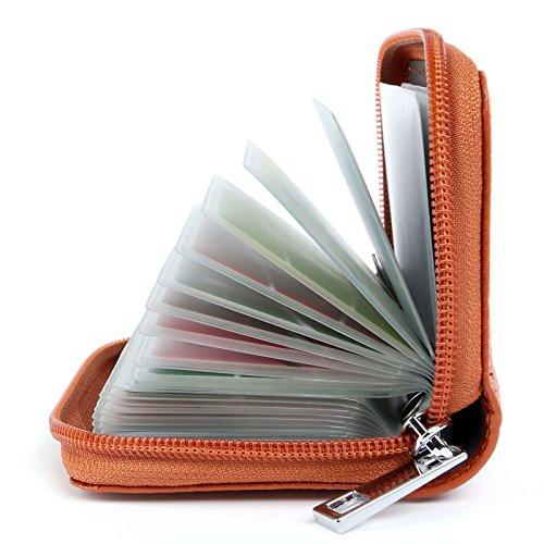AirZyx Kreditkartenetui Damen Herren Leder RFID Schutz Reißverschluss (Braun)