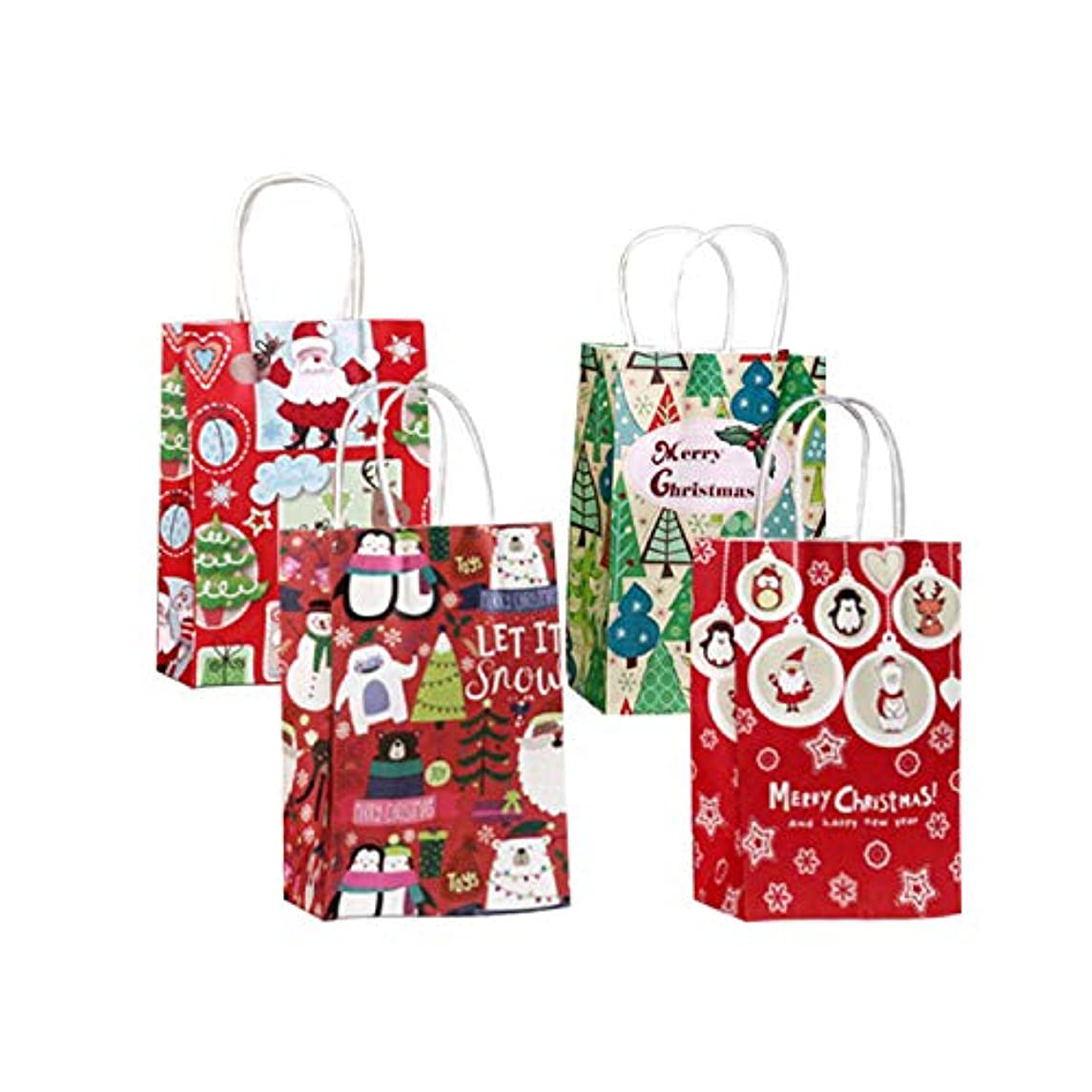 MC TTL12 Christmas Gift Bags for Women and Children Handles Various Designs for Holiday Wrapping Goodie Bags Party Favors