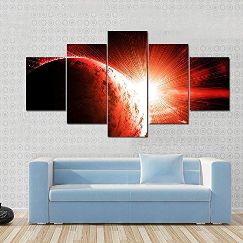 NNNLX 5 Piezas Cuadro sobre Lienzo Imagen Planeta Rojo gaseoso con su Estrella, Cuadro De Pintura Póster De Arte Moderno Oficina Sala De Estar O Dormitorio 150X80CM