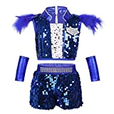 moily Unisex Girls Boys Sequins Hiphop Street Dance Outfit Crop Top with Shorts/Skirts Modern Jazz Performing Suit Blue 7-8
