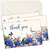 Floral Funeral Sympathy Bereavement Thank You Cards With Envelopes - Message Inside (50, Floral Butterfly)