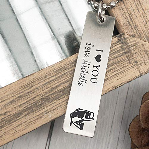 Personalized Men's Necklace Fishing Gift For Him Father's Day Gift Idea Husband Men's Necklace I Love You Gift Husband Necklace Boyfriend FISH-MEN-NECK