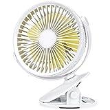 Aderk Ventilador con Clip Ventilador para Cochecito Ventilador de Escritorio portátil con batería Recargable Potente 3 velocidades Ventilador Personal Giratorio de 360 Grados
