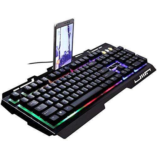 WLLL Teclado USB con Cable de Juego, Teclado de Trabajo y de Juego (Color : Negro)
