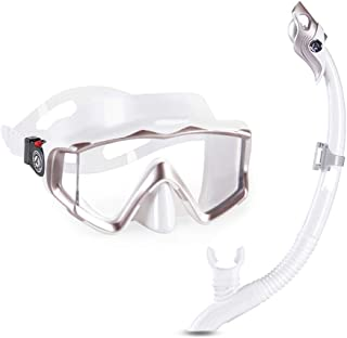 XY Swimming Goggles - Goggles Adult Snorkeling Sambo Equipment Full Dry Snorkel Anti-Fog Mirror Diving Glasses Water Sports Glasses (Color : White)