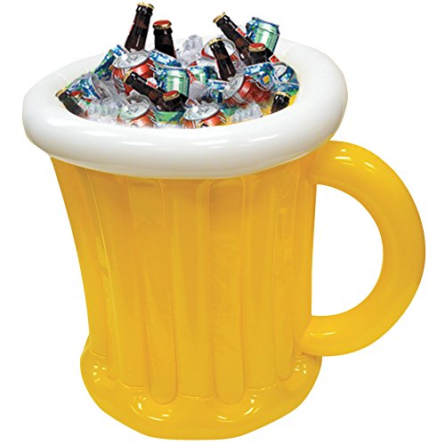 Inflatable Beer Mug Cooler for Outdoor Backyard BBQ Pool Party